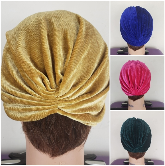 🆕️ Velvet Turban in Gold Blue Pink and Green